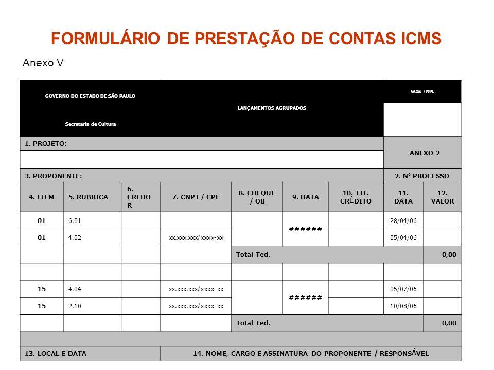 GOVERNO DO ESTADO DE SÃO PAULO LAN Ç AMENTOS AGRUPADOS PARCIAL / FINAL Secretaria de Cultura 1. PROJETO: ANEXO 2 3. PROPONENTE:2. N º PROCESSO 4. ITEM
