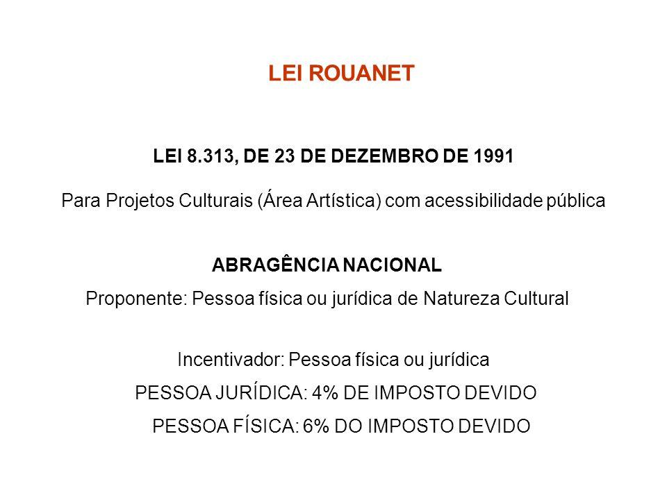 LEI 8.313, DE 23 DE DEZEMBRO DE 1991 Para Projetos Culturais (Área Artística) com acessibilidade pública Incentivador: Pessoa física ou jurídica PESSO