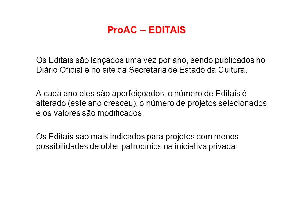 ProAC – EDITAIS Os Editais são lançados uma vez por ano, sendo publicados no Diário Oficial e no site da Secretaria de Estado da Cultura. A cada ano e