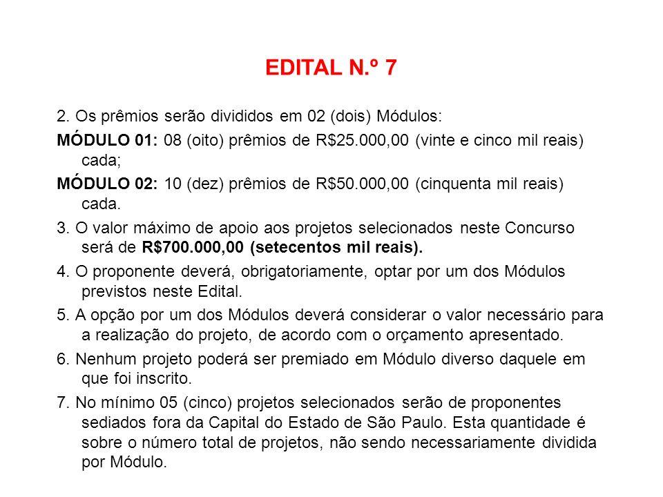 EDITAL N.º 7 2. Os prêmios serão divididos em 02 (dois) Módulos: MÓDULO 01: 08 (oito) prêmios de R$25.000,00 (vinte e cinco mil reais) cada; MÓDULO 02