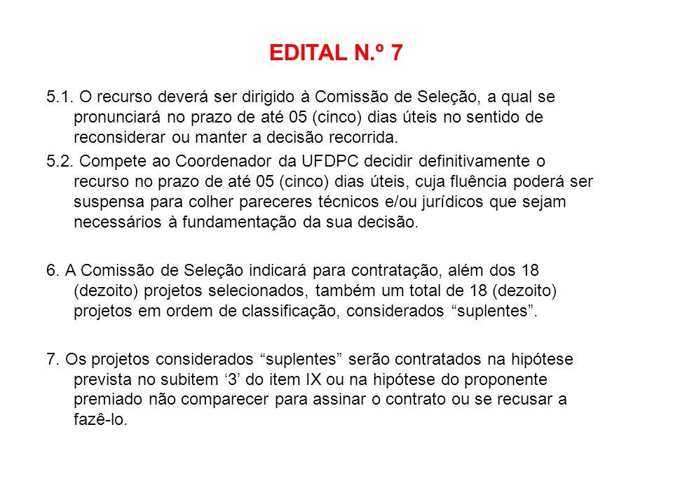 EDITAL N.º 7 5.1. O recurso deverá ser dirigido à Comissão de Seleção, a qual se pronunciará no prazo de até 05 (cinco) dias úteis no sentido de recon