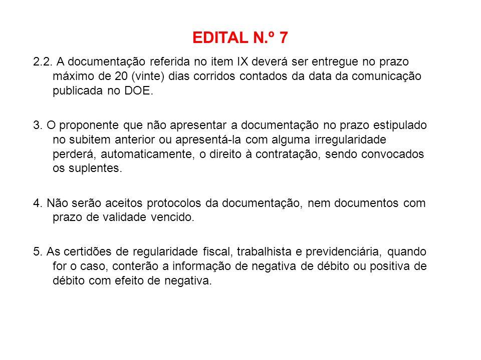 EDITAL N.º 7 2.2. A documentação referida no item IX deverá ser entregue no prazo máximo de 20 (vinte) dias corridos contados da data da comunicação p