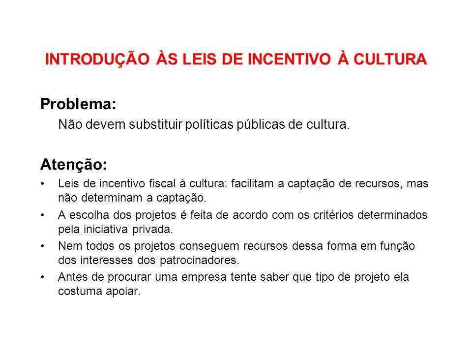 INTRODUÇÃO ÀS LEIS DE INCENTIVO À CULTURA Problema: Não devem substituir políticas públicas de cultura. Atenção: Leis de incentivo fiscal à cultura: f