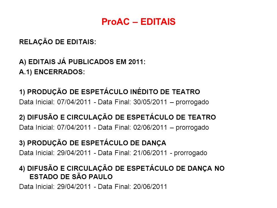ProAC – EDITAIS RELAÇÃO DE EDITAIS: A) EDITAIS JÁ PUBLICADOS EM 2011: A.1) ENCERRADOS: 1) PRODUÇÃO DE ESPETÁCULO INÉDITO DE TEATRO Data Inicial: 07/04
