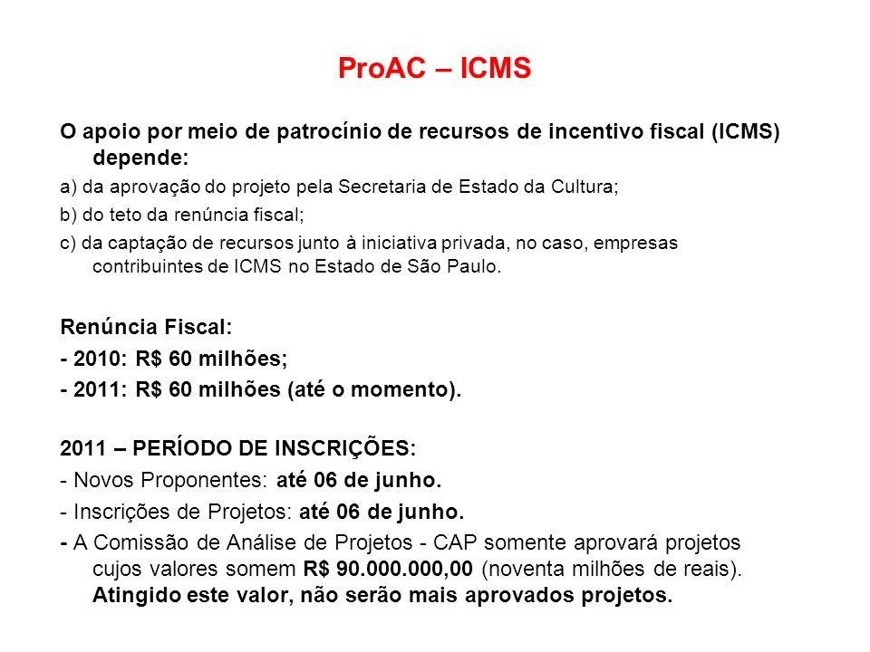ProAC – ICMS O apoio por meio de patrocínio de recursos de incentivo fiscal (ICMS) depende: a) da aprovação do projeto pela Secretaria de Estado da Cu