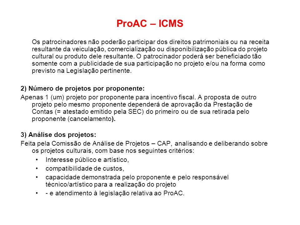ProAC – ICMS Os patrocinadores não poderão participar dos direitos patrimoniais ou na receita resultante da veiculação, comercialização ou disponibili