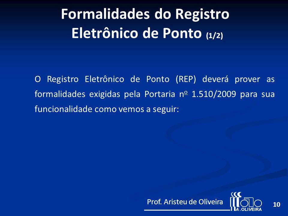 10 O Registro Eletrônico de Ponto (REP) deverá prover as formalidades exigidas pela Portaria n o 1.510/2009 para sua funcionalidade como vemos a segui