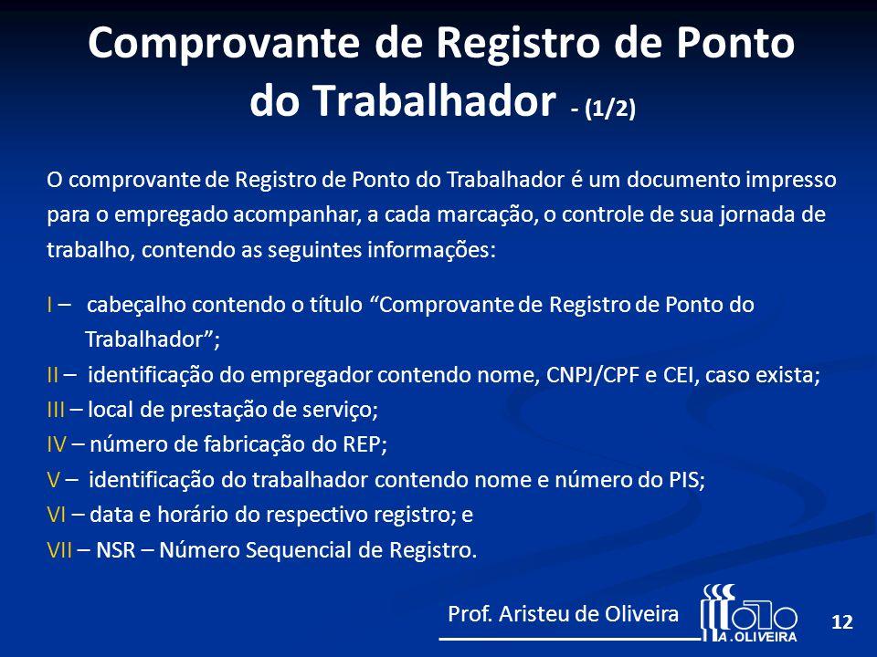 12 O comprovante de Registro de Ponto do Trabalhador é um documento impresso para o empregado acompanhar, a cada marcação, o controle de sua jornada d