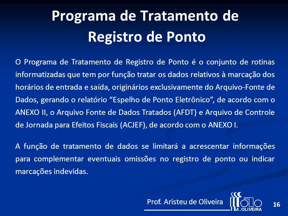 16 O Programa de Tratamento de Registro de Ponto é o conjunto de rotinas informatizadas que tem por função tratar os dados relativos à marcação dos ho
