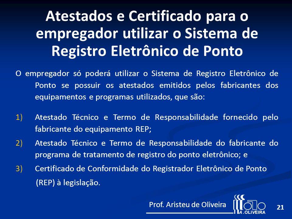 21 O empregador só poderá utilizar o Sistema de Registro Eletrônico de Ponto se possuir os atestados emitidos pelos fabricantes dos equipamentos e pro