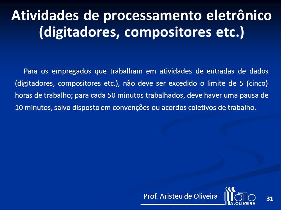 31 Para os empregados que trabalham em atividades de entradas de dados (digitadores, compositores etc.), não deve ser excedido o limite de 5 (cinco) h