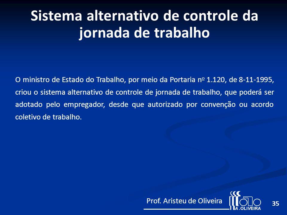 35 O ministro de Estado do Trabalho, por meio da Portaria n o 1.120, de 8-11-1995, criou o sistema alternativo de controle de jornada de trabalho, que