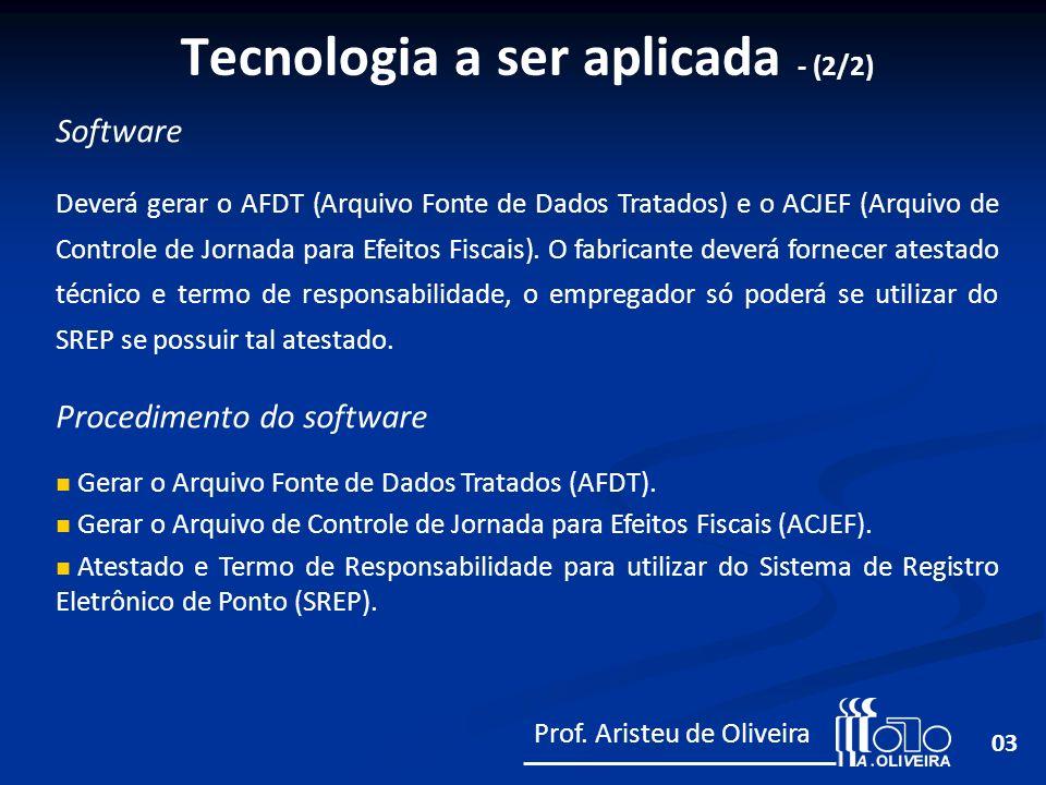 03 Software Deverá gerar o AFDT (Arquivo Fonte de Dados Tratados) e o ACJEF (Arquivo de Controle de Jornada para Efeitos Fiscais). O fabricante deverá