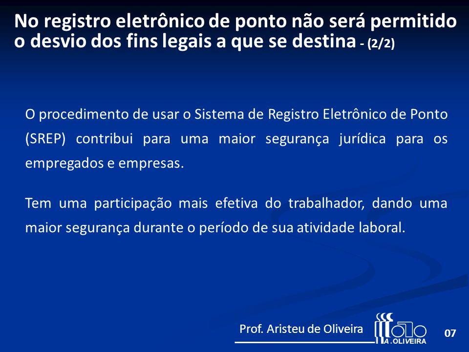 07 O procedimento de usar o Sistema de Registro Eletrônico de Ponto (SREP) contribui para uma maior segurança jurídica para os empregados e empresas.
