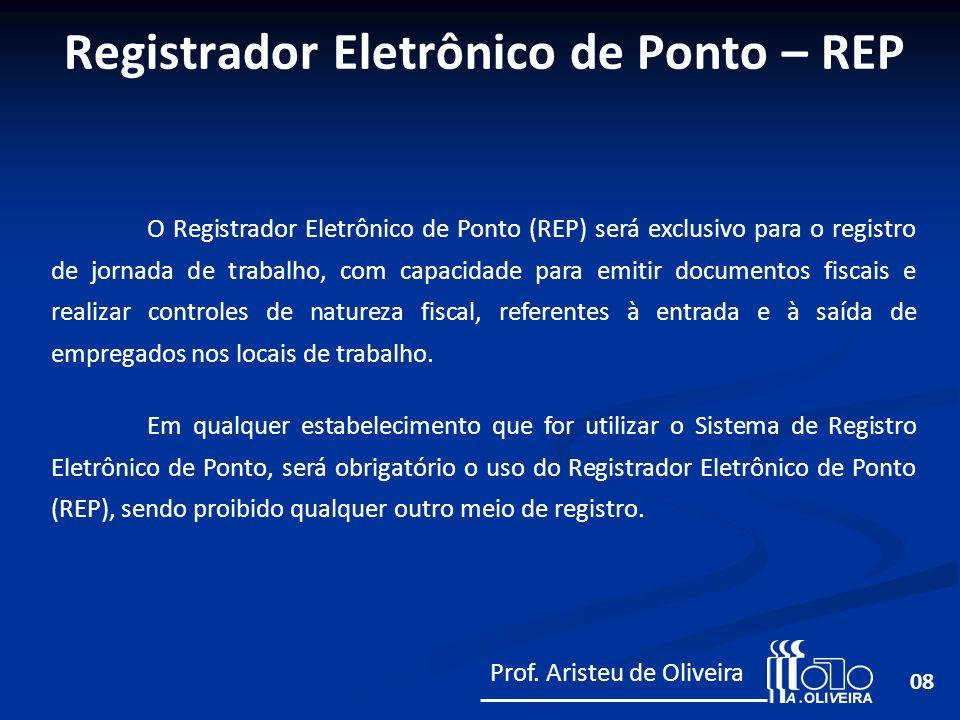 08 O Registrador Eletrônico de Ponto (REP) será exclusivo para o registro de jornada de trabalho, com capacidade para emitir documentos fiscais e real