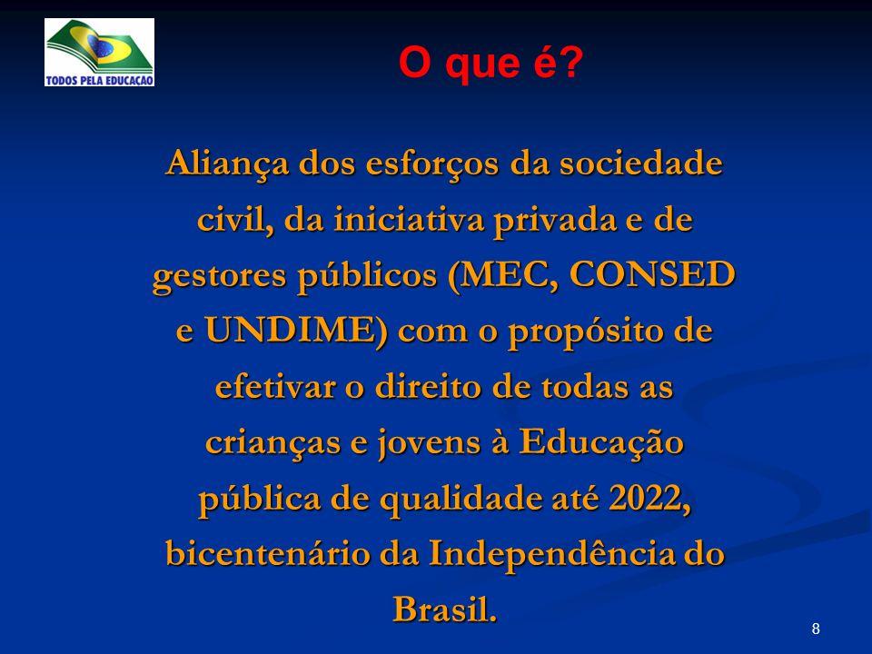 8 O que é? Aliança dos esforços da sociedade civil, da iniciativa privada e de gestores públicos (MEC, CONSED e UNDIME) com o propósito de efetivar o