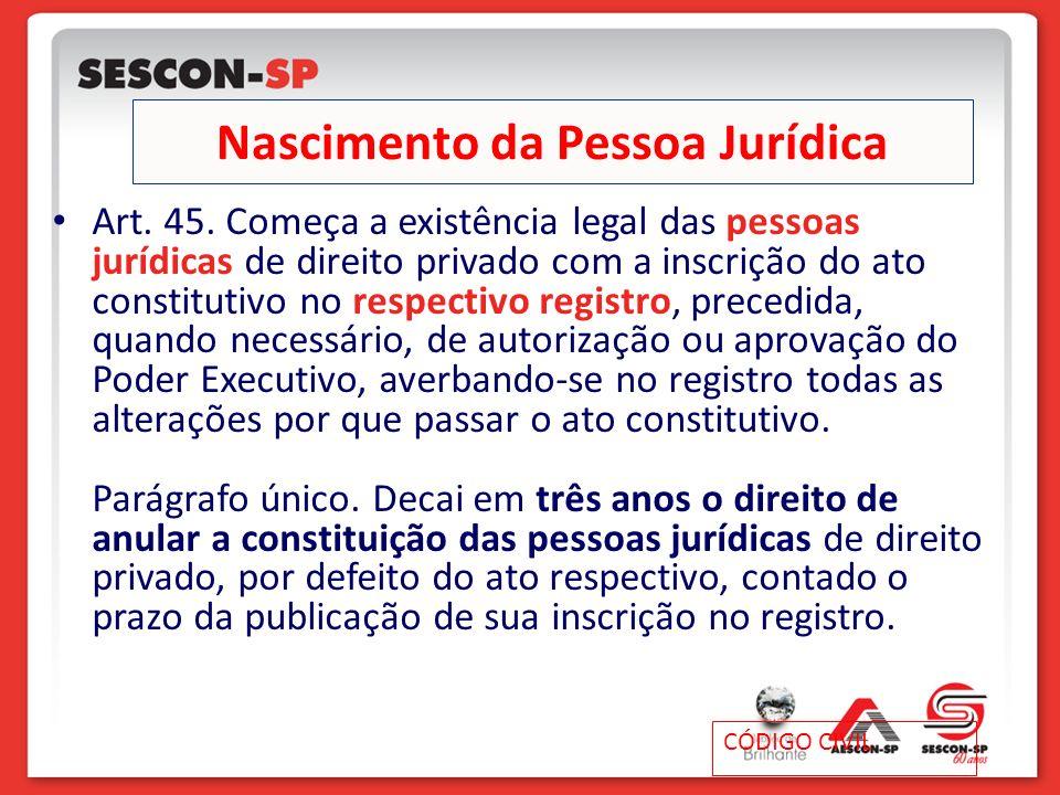 Nascimento da Pessoa Jurídica Art. 45. Começa a existência legal das pessoas jurídicas de direito privado com a inscrição do ato constitutivo no respe