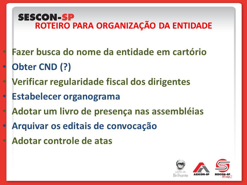 ROTEIRO PARA ORGANIZAÇÃO DA ENTIDADE 22 Fazer busca do nome da entidade em cartório Obter CND (?) Verificar regularidade fiscal dos dirigentes Estabel