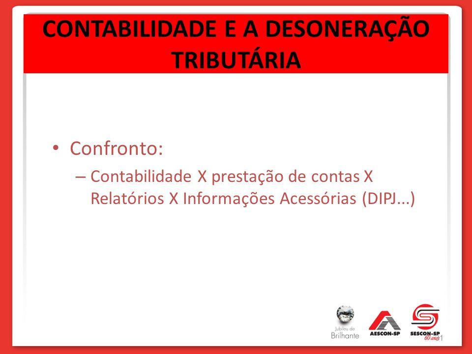 CONTABILIDADE E A DESONERAÇÃO TRIBUTÁRIA Confronto: – Contabilidade X prestação de contas X Relatórios X Informações Acessórias (DIPJ...) 31