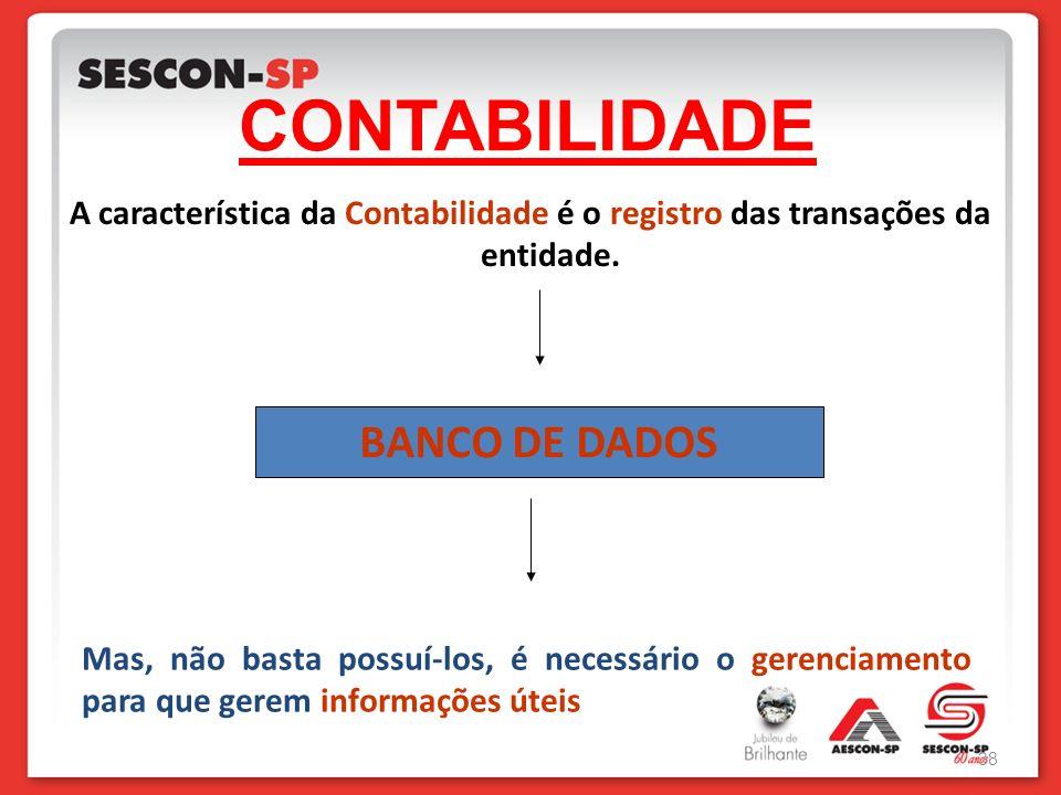 CONTABILIDADE A característica da Contabilidade é o registro das transações da entidade. BANCO DE DADOS Mas, não basta possuí-los, é necessário o gere