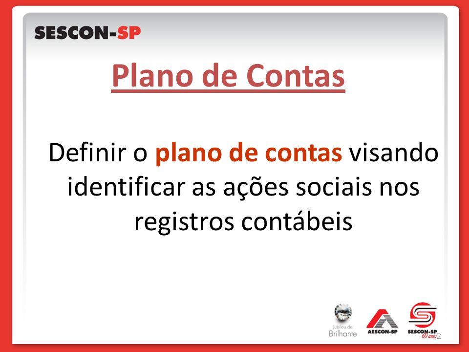 Definir o plano de contas visando identificar as ações sociais nos registros contábeis Plano de Contas 42