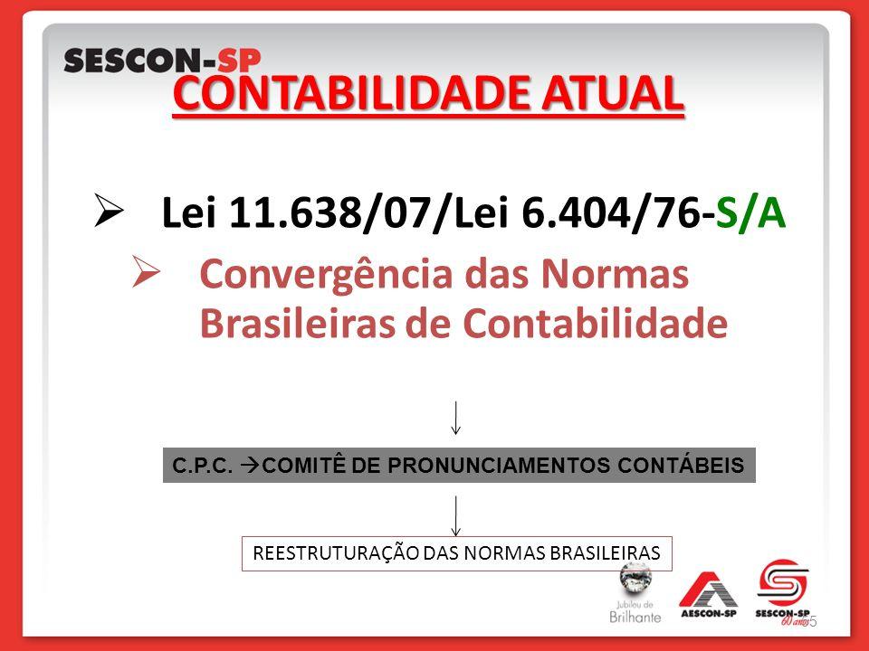 CONTABILIDADE ATUAL Lei 11.638/07/Lei 6.404/76-S/A Convergência das Normas Brasileiras de Contabilidade C.P.C. COMITÊ DE PRONUNCIAMENTOS CONTÁBEIS REE