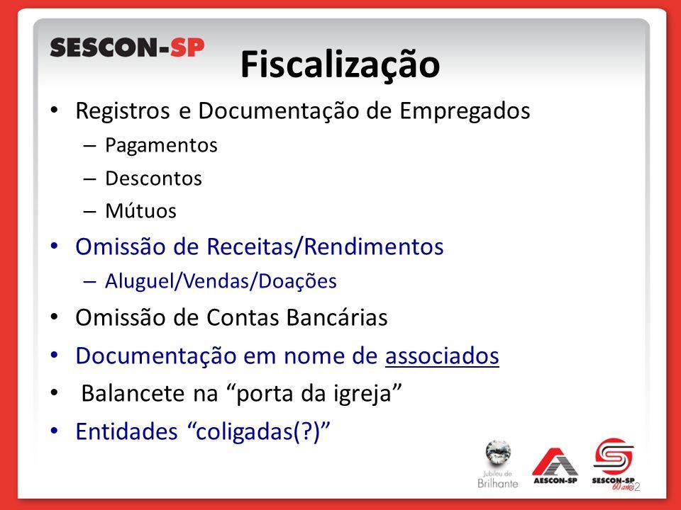Fiscalização Registros e Documentação de Empregados – Pagamentos – Descontos – Mútuos Omissão de Receitas/Rendimentos – Aluguel/Vendas/Doações Omissão
