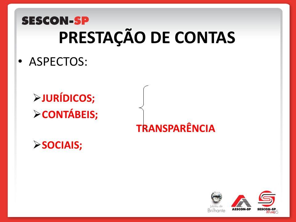 PRESTAÇÃO DE CONTAS ASPECTOS: JURÍDICOS; CONTÁBEIS; TRANSPARÊNCIA SOCIAIS; 65