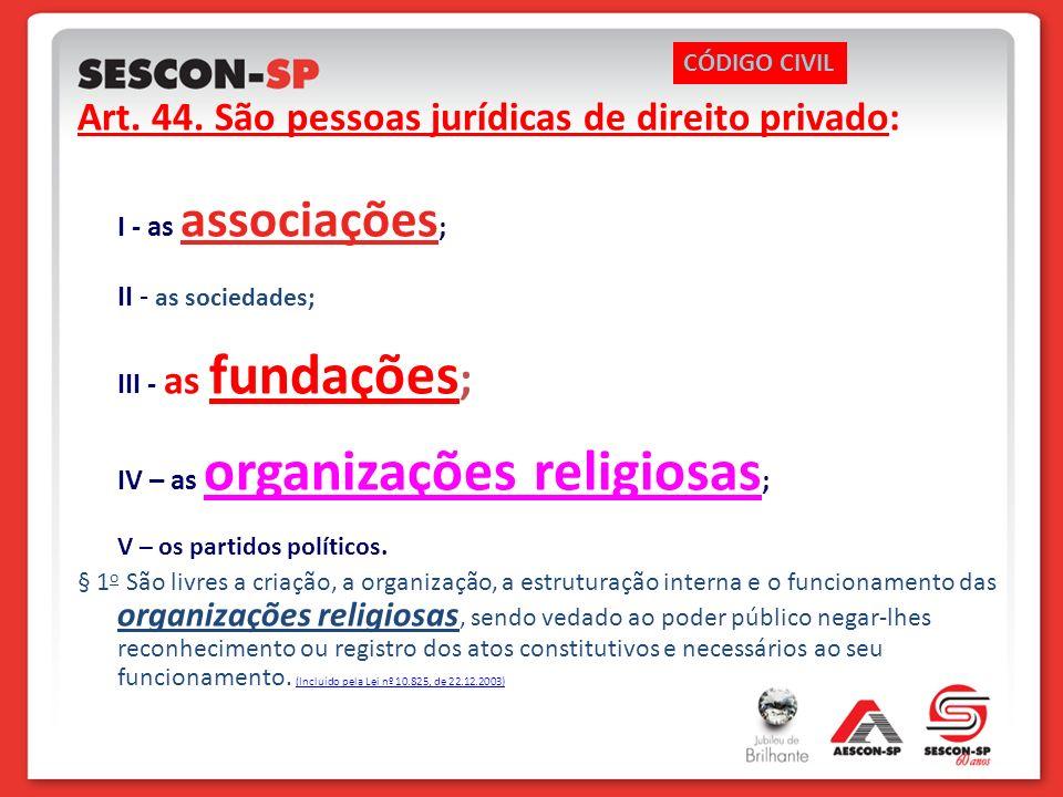 Art. 44. São pessoas jurídicas de direito privado: I - as associações ; II - as sociedades; III - as fundações ; IV – as organizações religiosas ; V –