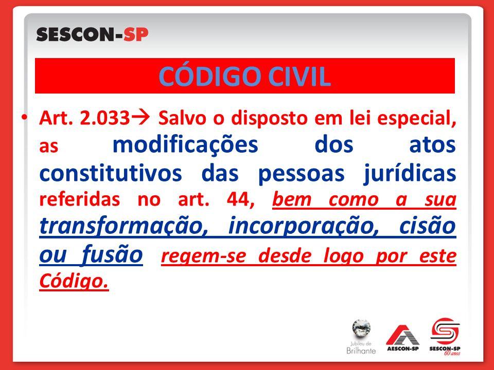 Art. 2.033 Salvo o disposto em lei especial, as modificações dos atos constitutivos das pessoas jurídicas referidas no art. 44, bem como a sua transfo