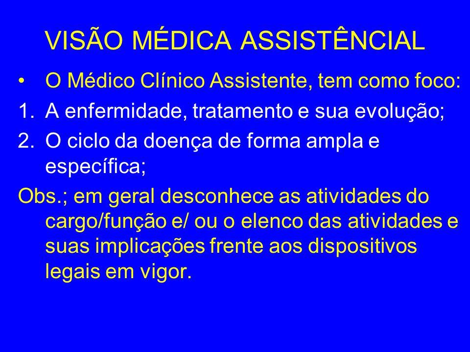 VISÃO MÉDICA ASSISTÊNCIAL O Médico Clínico Assistente, tem como foco: 1.A enfermidade, tratamento e sua evolução; 2.O ciclo da doença de forma ampla e