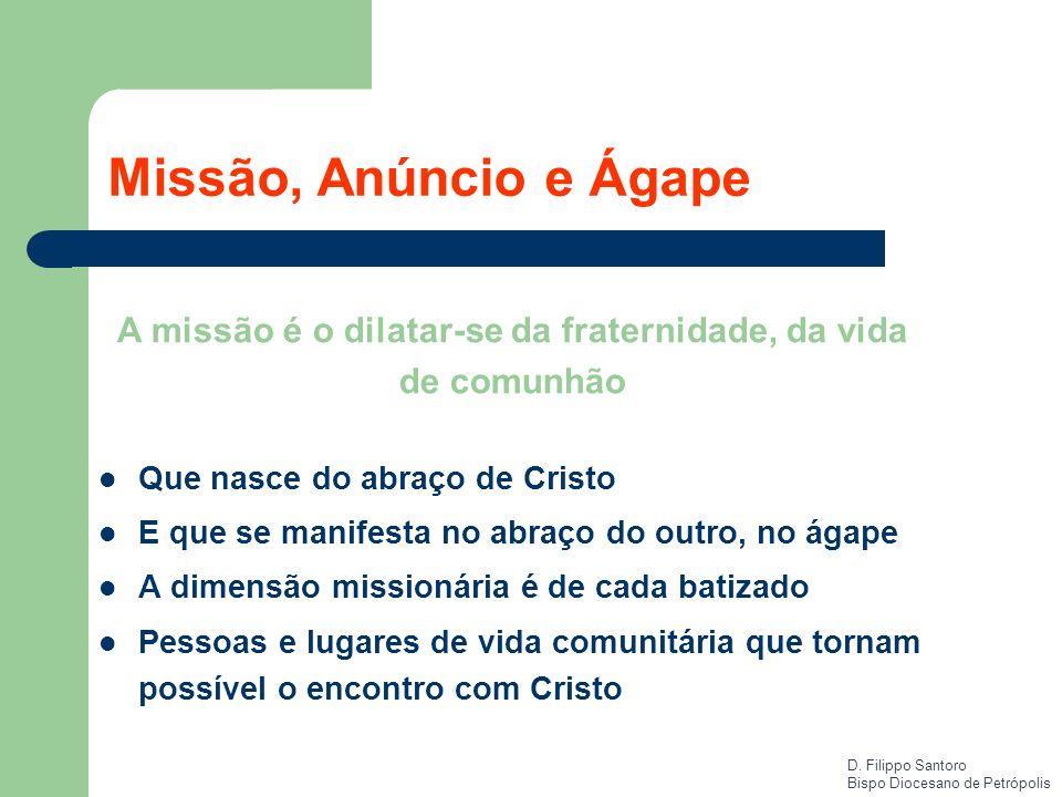Missão, Anúncio e Ágape Que nasce do abraço de Cristo E que se manifesta no abraço do outro, no ágape A dimensão missionária é de cada batizado Pessoa