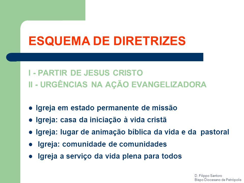 I - PARTIR DE JESUS CRISTO II - URGÊNCIAS NA AÇÃO EVANGELIZADORA Igreja em estado permanente de missão Igreja: casa da iniciação à vida cristã Igreja: