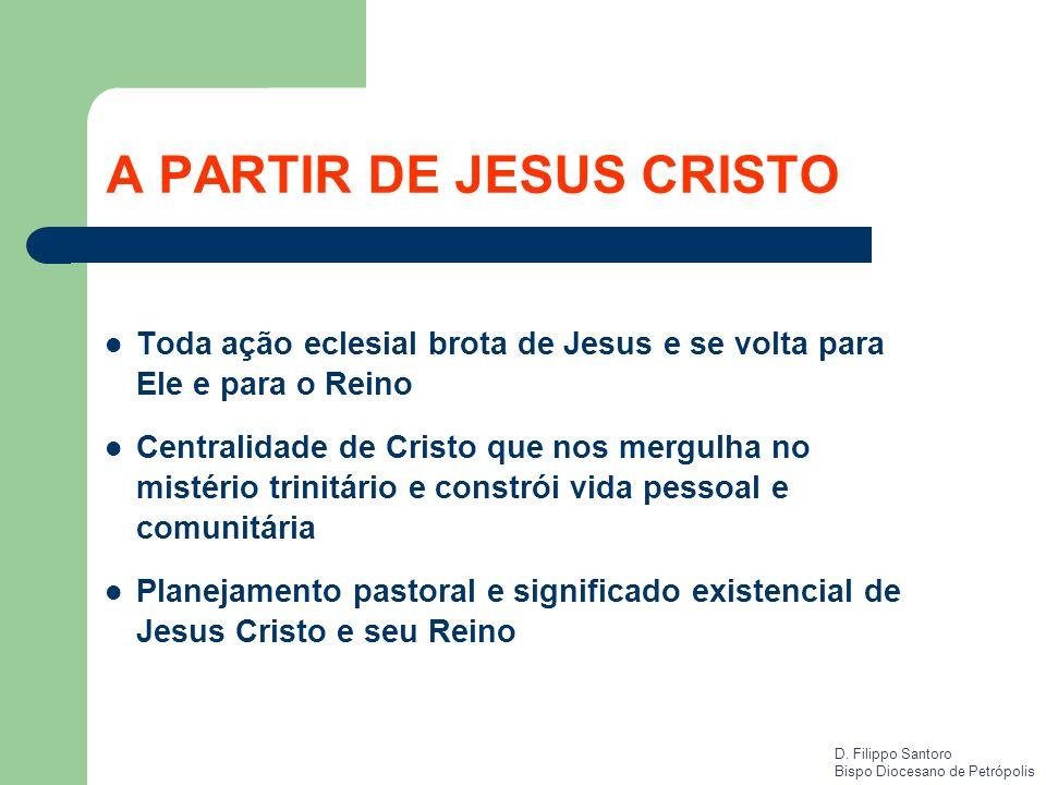 A PARTIR DE JESUS CRISTO Toda ação eclesial brota de Jesus e se volta para Ele e para o Reino Centralidade de Cristo que nos mergulha no mistério trin