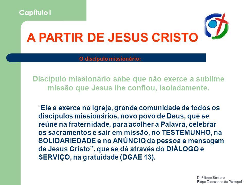 Capítulo I O discípulo missionário: A PARTIR DE JESUS CRISTO Discípulo missionário sabe que não exerce a sublime missão que Jesus lhe confiou, isolada