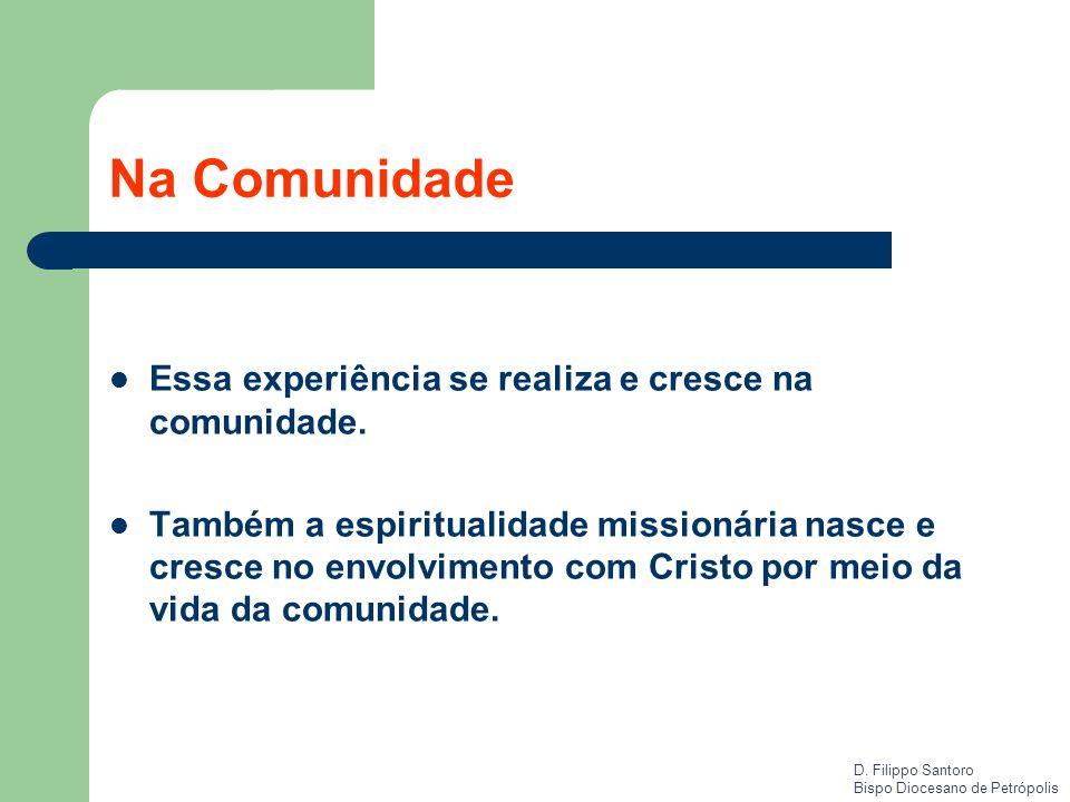 Na Comunidade Essa experiência se realiza e cresce na comunidade. Também a espiritualidade missionária nasce e cresce no envolvimento com Cristo por m
