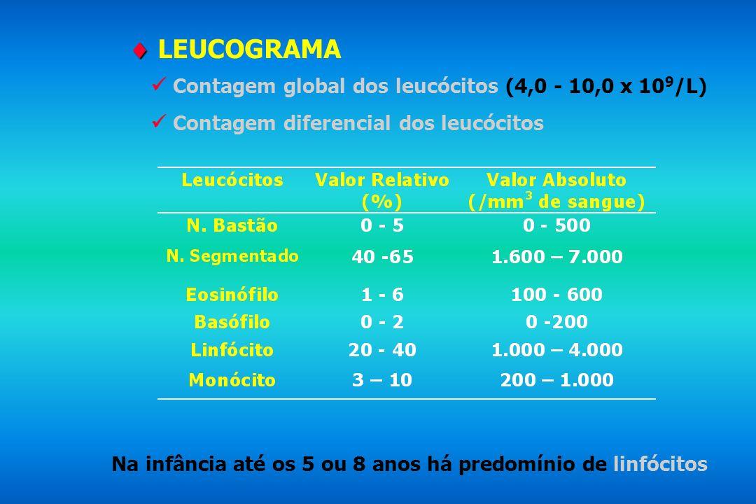 Contagem global dos leucócitos (4,0 - 10,0 x 10 9 /L) Contagem diferencial dos leucócitos Na infância até os 5 ou 8 anos há predomínio de linfócitos L