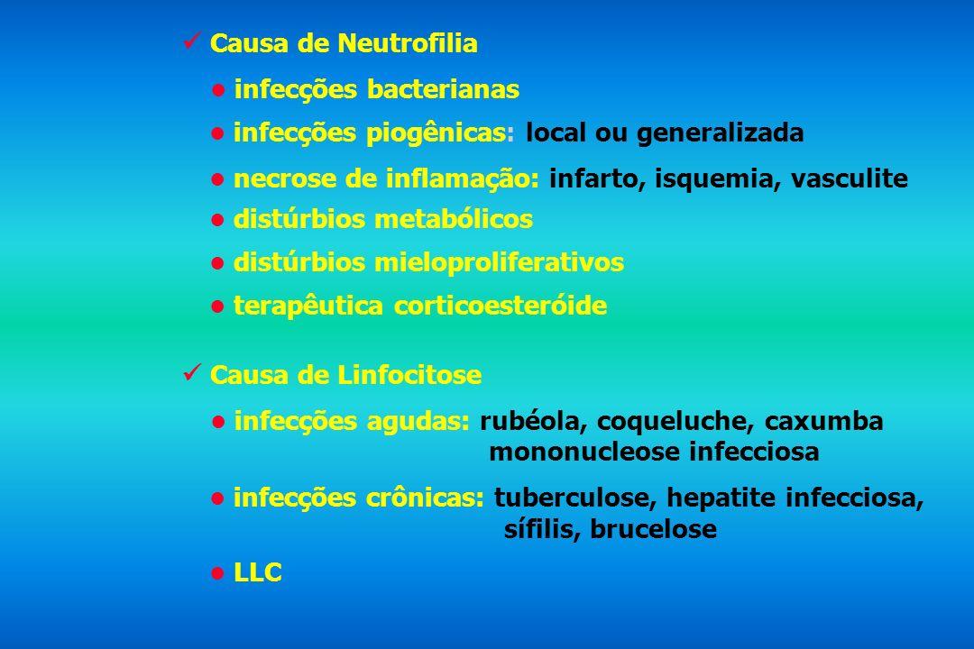 Causa de Neutrofilia infecções bacterianas infecções piogênicas: local ou generalizada necrose de inflamação: infarto, isquemia, vasculite distúrbios