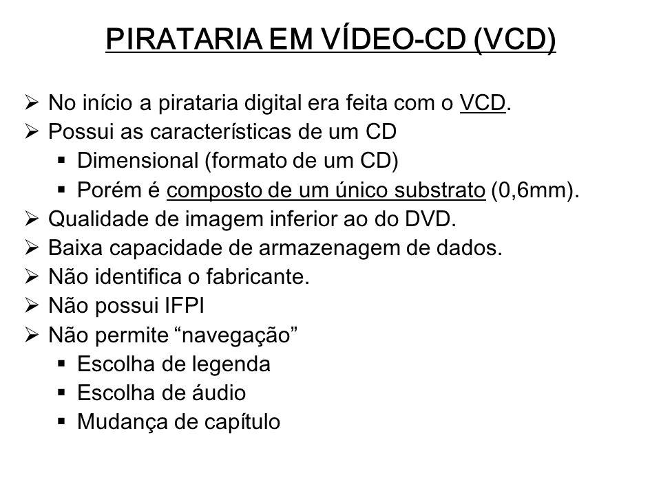 PIRATARIA EM VÍDEO-CD (VCD) No início a pirataria digital era feita com o VCD. Possui as características de um CD Dimensional (formato de um CD) Porém