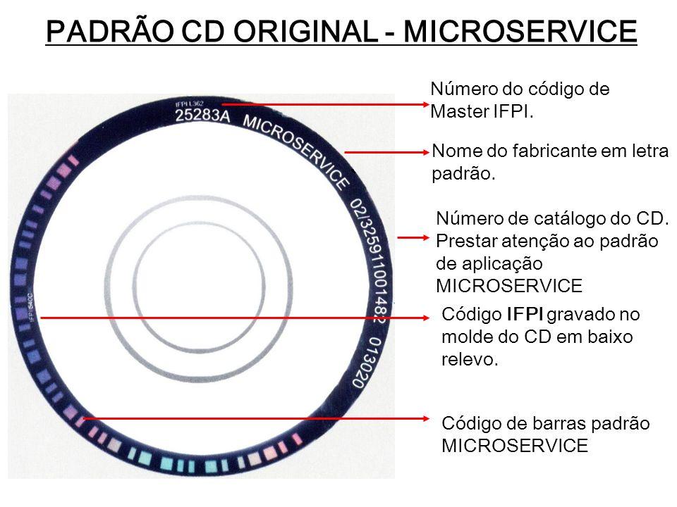 PADRÃO CD ORIGINAL - MICROSERVICE Número do código de Master IFPI. Nome do fabricante em letra padrão. Número de catálogo do CD. Prestar atenção ao pa