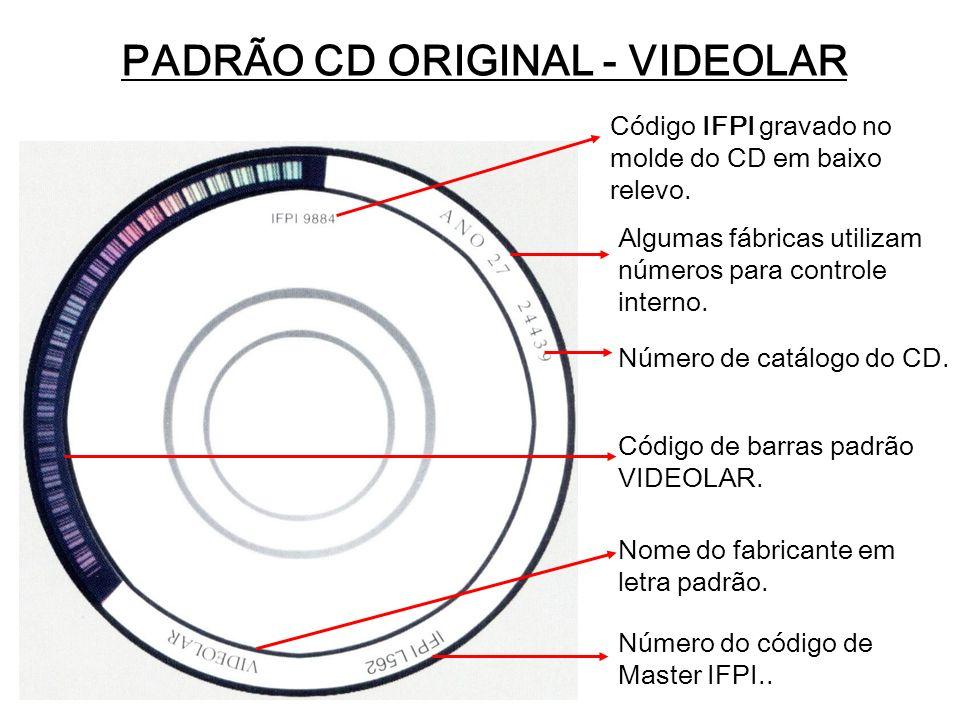 PADRÃO CD ORIGINAL - VIDEOLAR Código IFPI gravado no molde do CD em baixo relevo. Algumas fábricas utilizam números para controle interno. Número de c