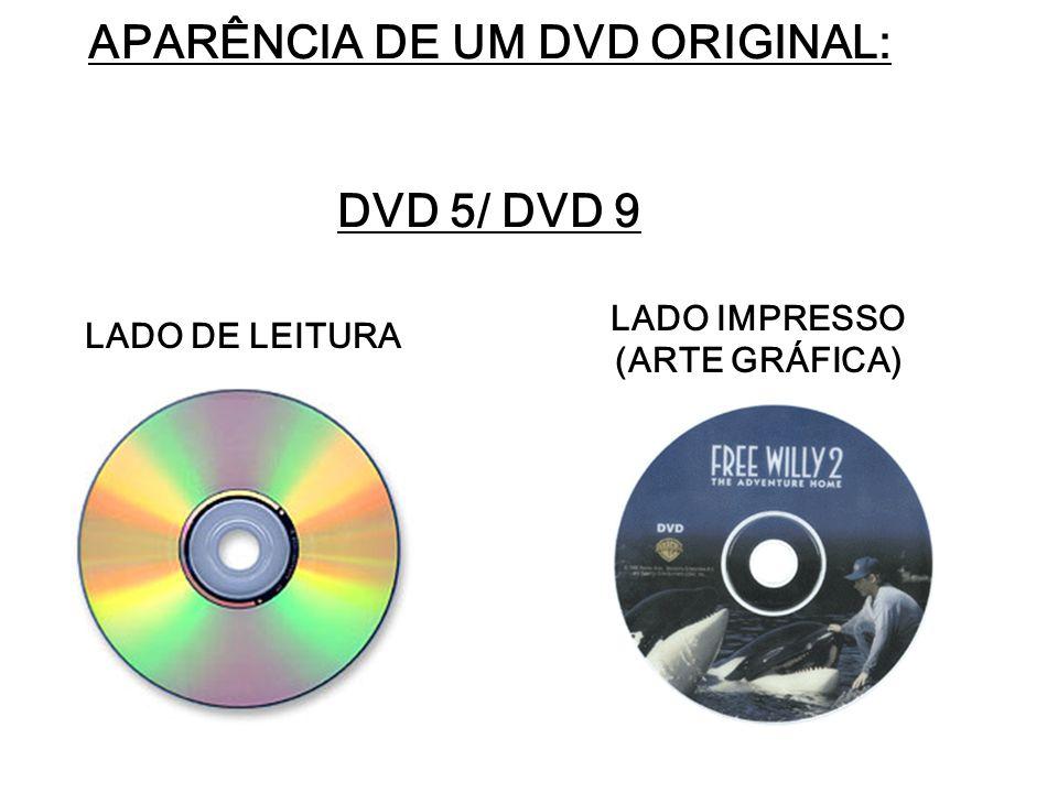APARÊNCIA DE UM DVD ORIGINAL: DVD 5/ DVD 9 LADO DE LEITURA LADO IMPRESSO (ARTE GRÁFICA)