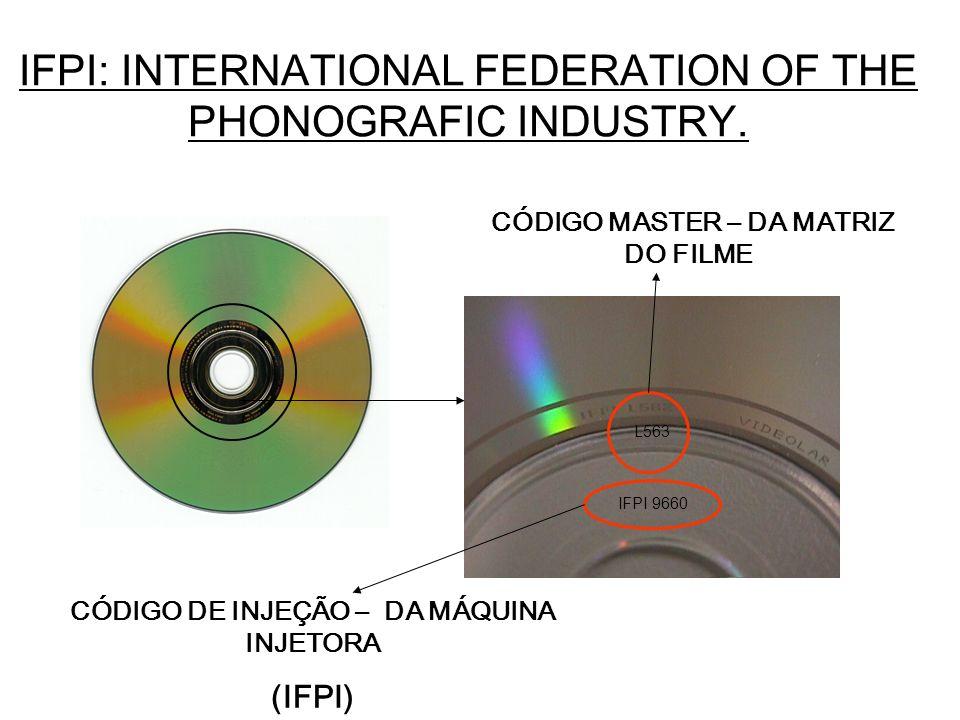 IFPI: INTERNATIONAL FEDERATION OF THE PHONOGRAFIC INDUSTRY. IFPI 9660 L563 CÓDIGO MASTER – DA MATRIZ DO FILME CÓDIGO DE INJEÇÃO – DA MÁQUINA INJETORA