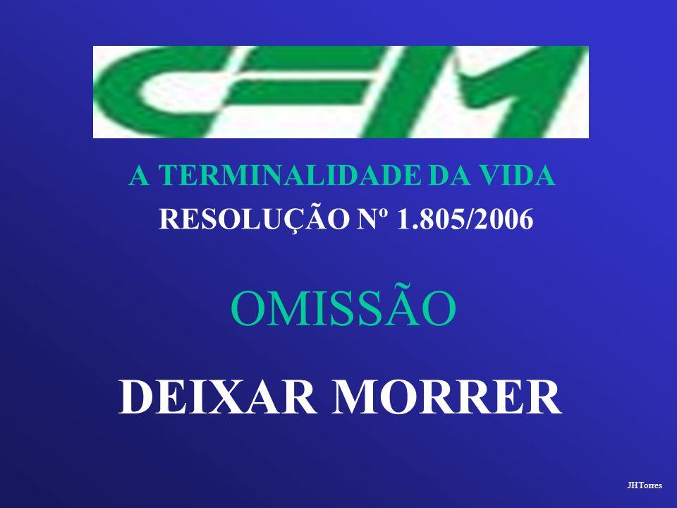 A TERMINALIDADE DA VIDA RESOLUÇÃO Nº 1.805/2006 OMISSÃO DEIXAR MORRER JHTorres