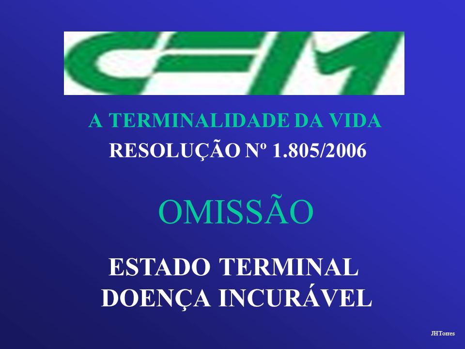 A TERMINALIDADE DA VIDA RESOLUÇÃO Nº 1.805/2006 OMISSÃO ESTADO TERMINAL DOENÇA INCURÁVEL JHTorres