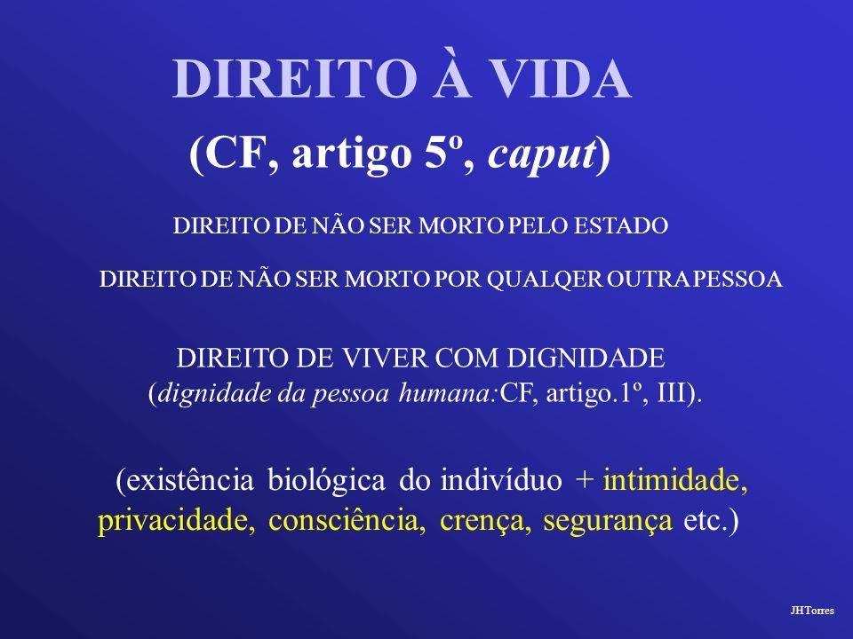 DIREITO À VIDA (CF, artigo 5º, caput) DIREITO DE NÃO SER MORTO PELO ESTADO DIREITO DE VIVER COM DIGNIDADE (dignidade da pessoa humana:CF, artigo.1º, I