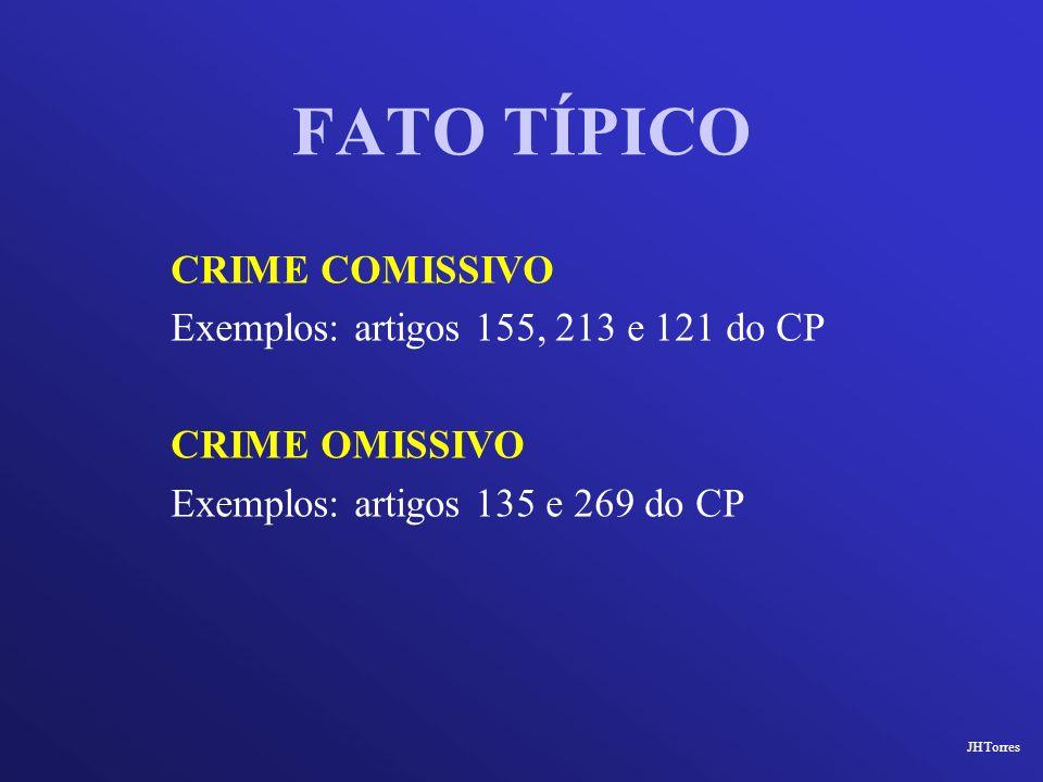 FATO TÍPICO CRIME COMISSIVO Exemplos: artigos 155, 213 e 121 do CP CRIME OMISSIVO Exemplos: artigos 135 e 269 do CP JHTorres