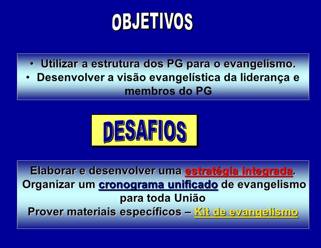 Utilizar a estrutura dos PG para o evangelismo.Utilizar a estrutura dos PG para o evangelismo.