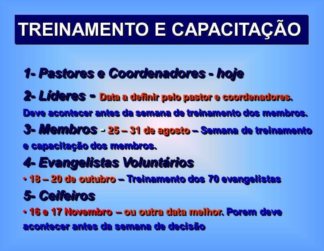 1 - Treinamento e Capacitação Pastor e Coordenador Julho - MSA – 26-28 Lideres Julho e Agosto – data a definir pelo pastor e coordenadores do distrito Membros 25 – 31 de agosto – Semana de treinamento e compromisso do membro Evangelistas voluntários 18 – 20 de outubro – Treinamento dos 70 evangelistas Ceifeiros 16 e 17 Novembro – ou outra data que melhor.