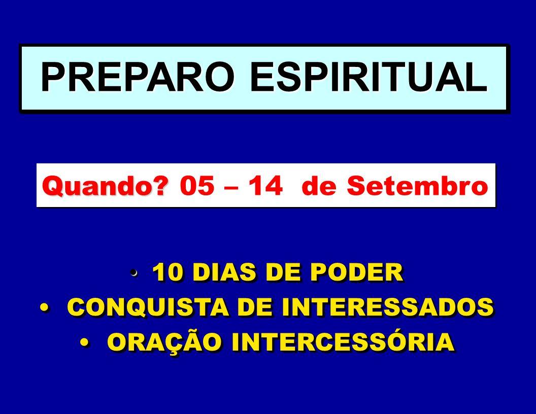 1- Pastores e Coordenadores - hoje 2- Líderes - Data a definir pelo pastor e coordenadores. Deve acontecer antes da semana de treinamento dos membros.